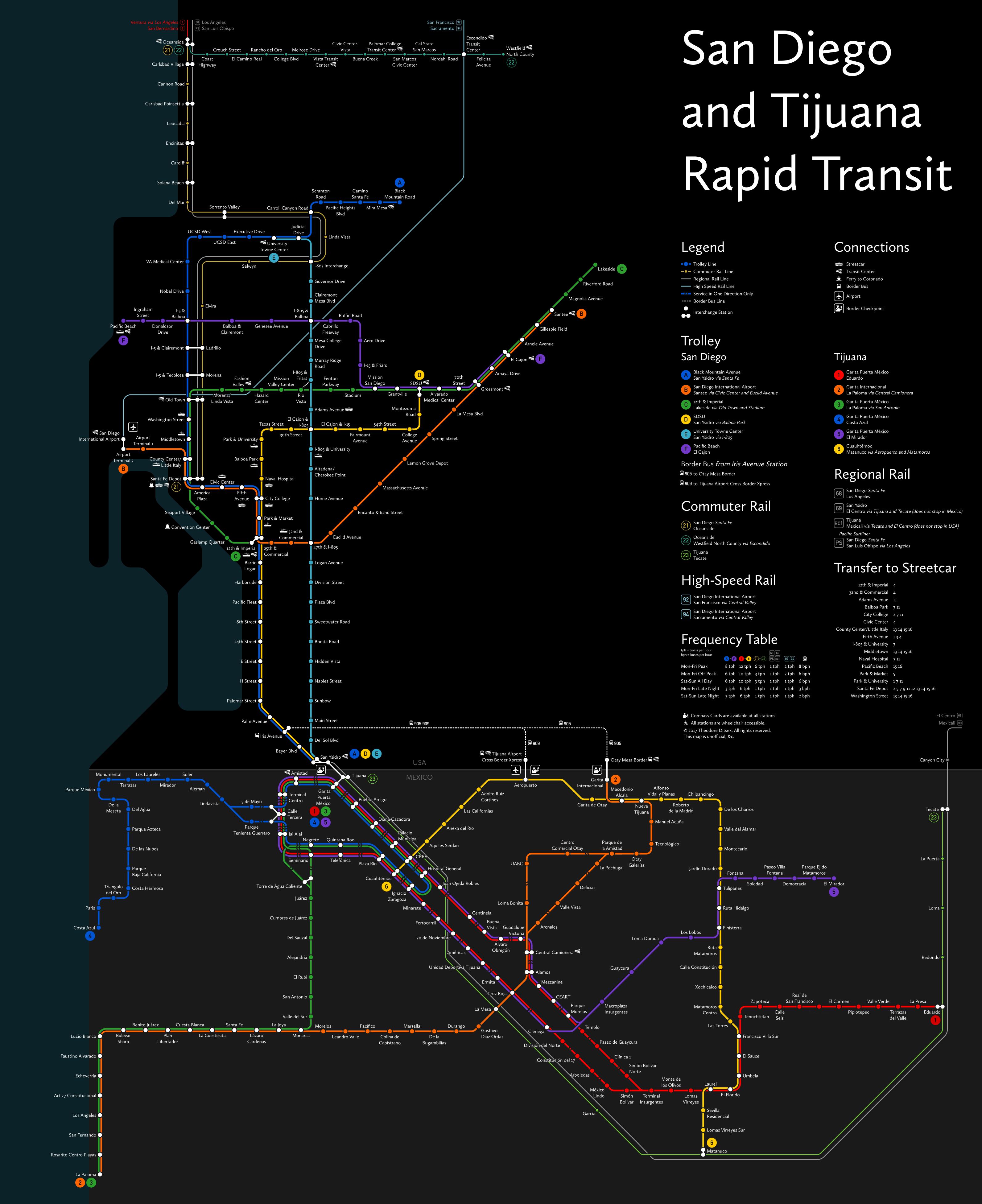 Trolley San Diego Map.San Diego Tijuana Crayon Map Theodore Ditsek