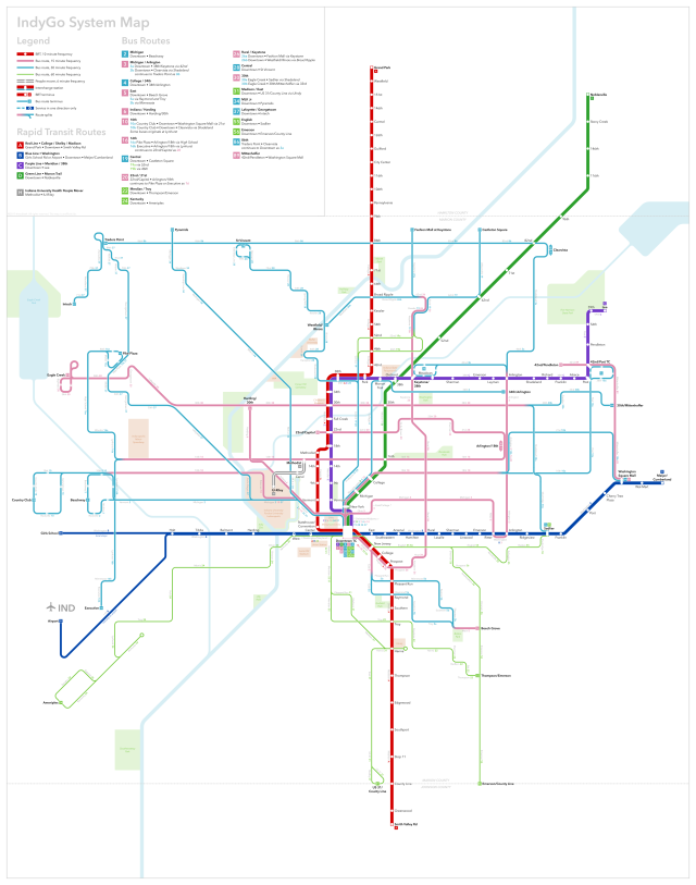 indy bus map poster