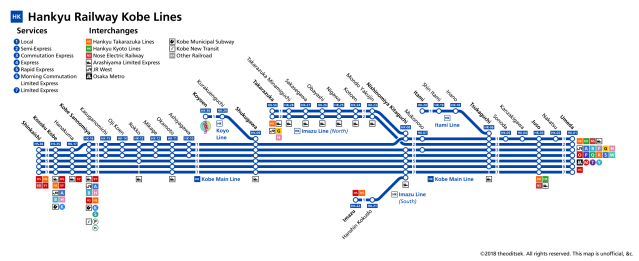 hankyu kobe main line strip map