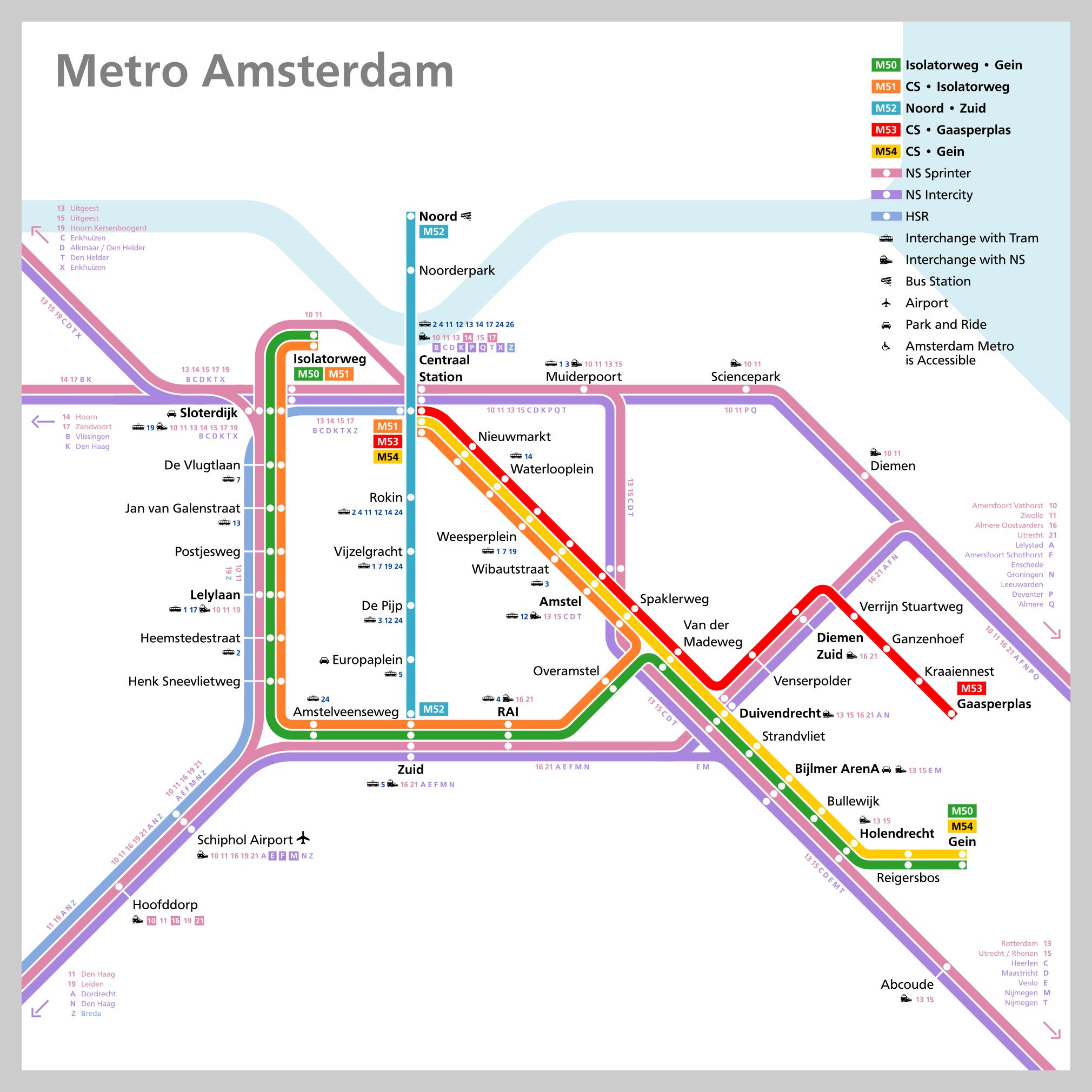 Subway Map Of Amsterdam.Amsterdam Metro Map Theodore Ditsek